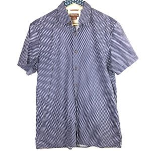 Michael Michael Kors Blue Polka Dot Shirt Medium